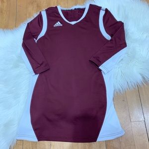 Adidas 3/4 Sleeve Shirt Exercise/ Sports Maroon S